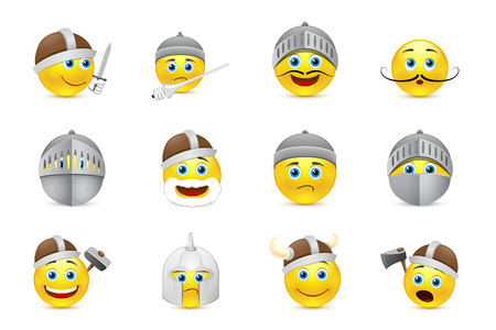 knight armor: set of smiles in knight helmets and weapons Illustration