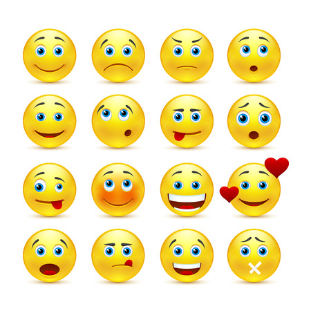 volti: emozionali icone viso Vettoriali