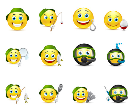 fish in ball: funny illustrations of emoticons whit different elements