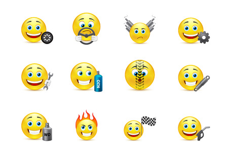 smiley face car: racing equipment smiles icons set