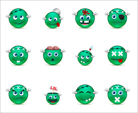 smiley images with a zombie theme Vector