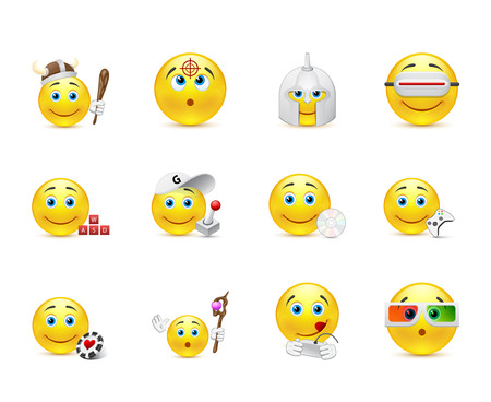 iconography: smiley images with different elements of the game