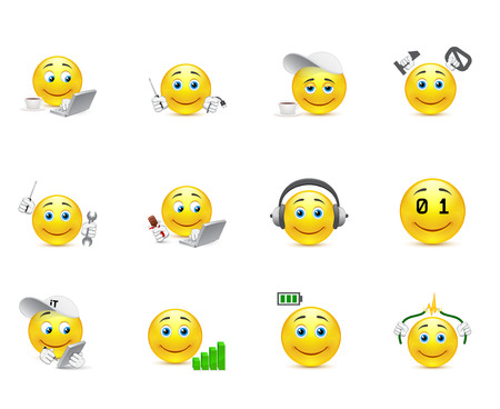 set of smilies that use different charges for the brain and body Vector
