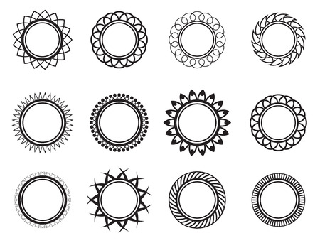 seal stamper: Set template in the form of a nice circle Illustration