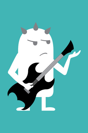 fictional: Animated fictional character whit guitar and mohawk Illustration
