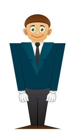 broad: Good office man standing on white background