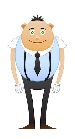 suspenders: Modest office worker in suspenders on white background