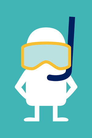Animated fictional character diver in mask and snorkel Vector
