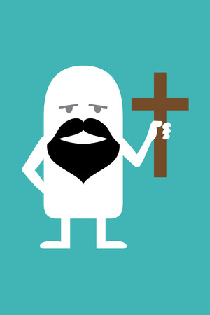 fictional: Animated fictional character with a beard and a cross in his hands
