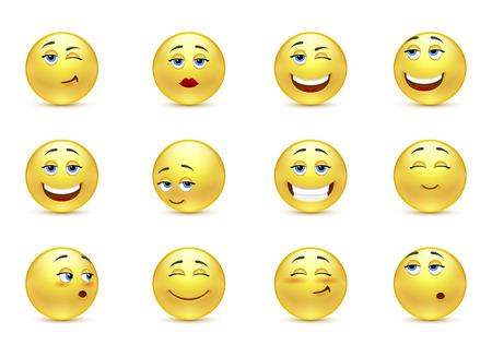 smiley face cartoon: Vector conjunto de sonrisas divertidas