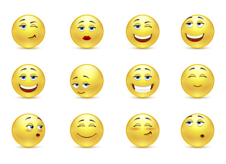 Vector set of funny smiles Vector