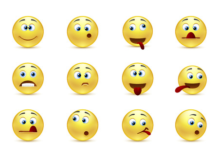 Bauty vector set crazy emoticons Vector