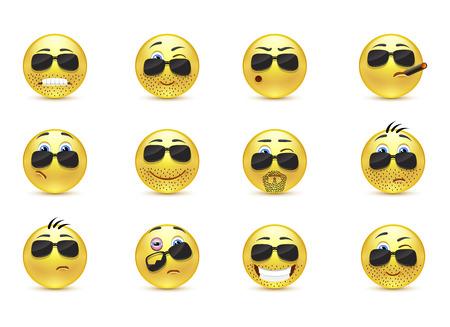 footsie: Set inspirationa funny bearded emoticons
