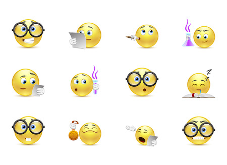 thoughtfulness: Vector set of emoticons for students
