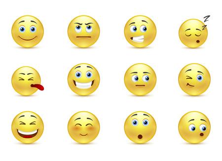 cara sonriente: Conjunto de belleza pensativa sonríe iconos