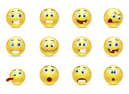 smiley face cartoon: Conjunto de sonrisas emociones locas