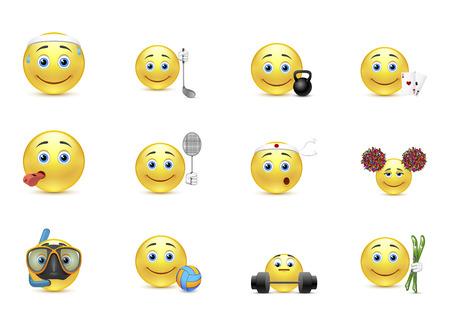Set of smiles outside interest emotion Vector