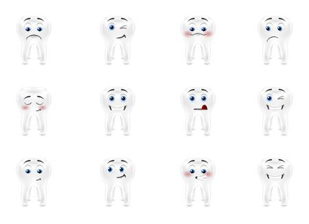 sensitive: Set smiles white sensitive teeth Illustration
