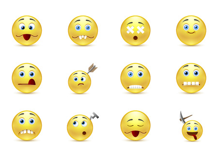 Funny set unhealthy smiles Vector