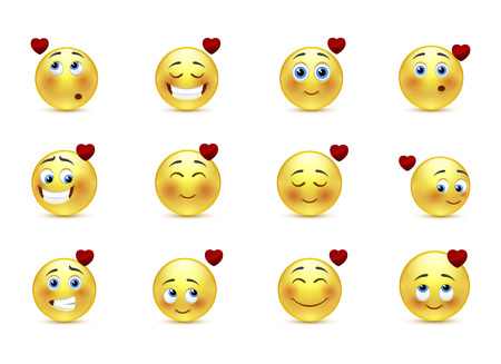 Set beauty valentine emoticons in love Vector