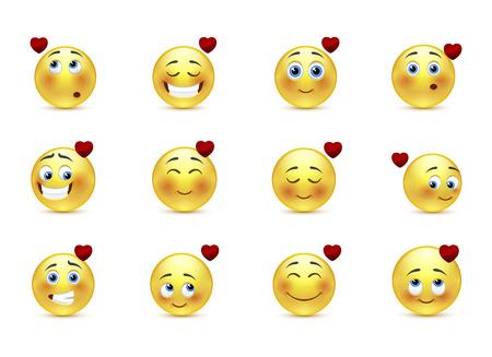 footsie: Set beauty valentine emoticons in love