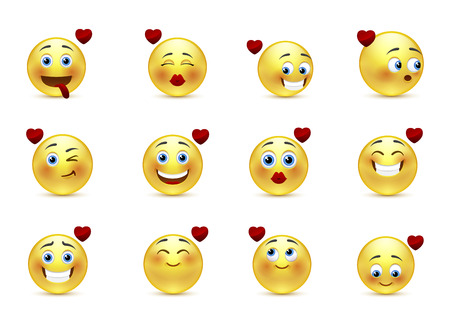 mouth kiss mouth: Set beauty valentine emoticons in love