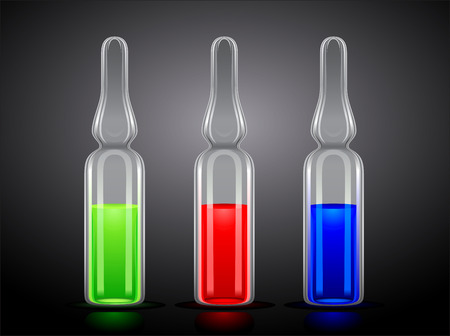 three ampoules with green, red and blue liquid on a black background Illustration