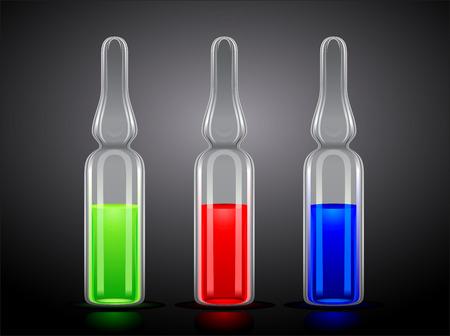 fiole: trois ampoules avec un liquide vert, rouge et bleu sur un fond noir