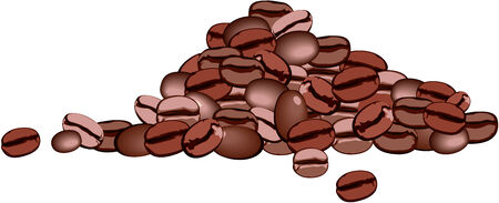 blanc: un pu�ado de granos de caf� sobre fondo blanco