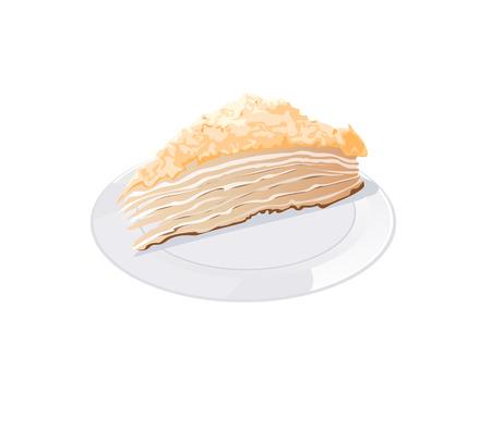 gateau: un pezzo di torta su una piastra su uno sfondo bianco Vettoriali