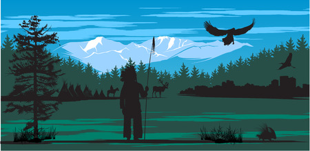 American Indian on the pine wood Illustration