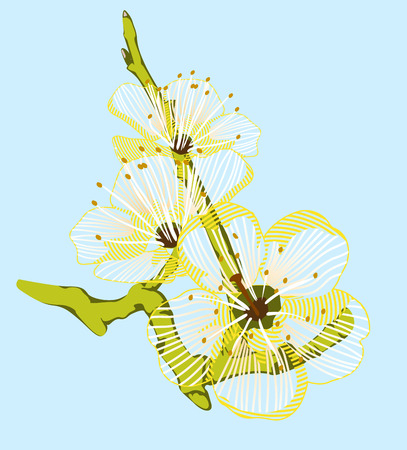 taffy: background of a yellow flower on a green branch Illustration
