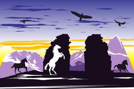 Black horses near the broken rocks on the sunset background Vector