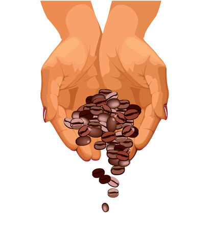 handful: Coffee beans are falling down from two hands