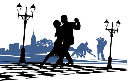 paar in liefde dansen tango op het gebied bij het licht