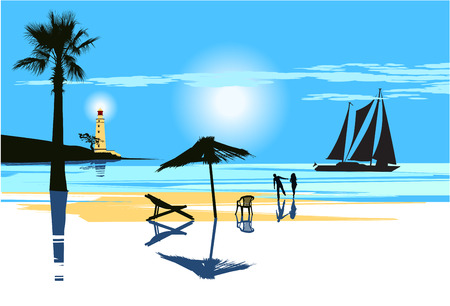 pareja en el amor en la playa por la noche