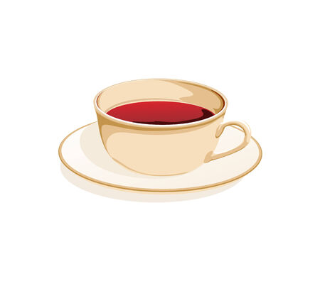 teabag: cup of tea on a saucer on a white background