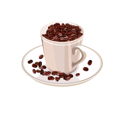 coffee sack: cup with coffee beans on a white saucer on a white background