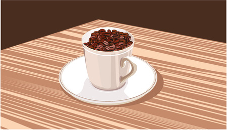 spilling: cup with coffee beans stands on a white saucer Illustration