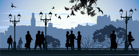 promenade: Evening meeting at the mall on the city background