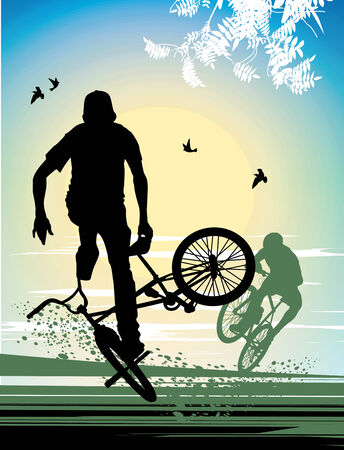 stunt: exercise extreme stunt cyclist Illustration