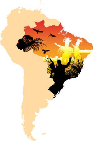 aborigines: Map picture whit aborigines and dancing couple on the city buildings background
