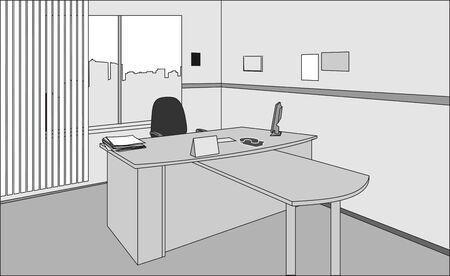 ejecutivo en oficina: Escritorio de director y presidente Vectores