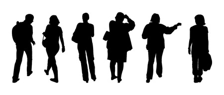 Silhouettes of tourists walking on excursion Vector