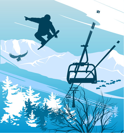 ski lift: Snowboarder on a background of mountains and ski lift Illustration