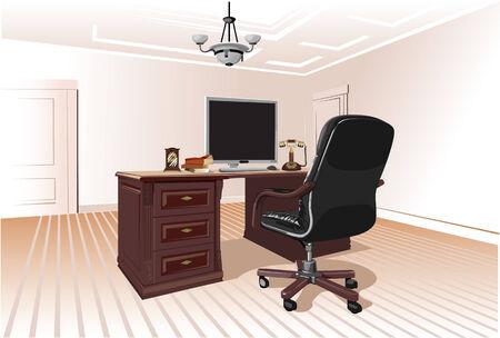 leather chair: Sul posto di lavoro in una stanza con una sedia in pelle e un computer
