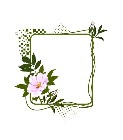 poetic: The green frame with the wild pale lilac roses