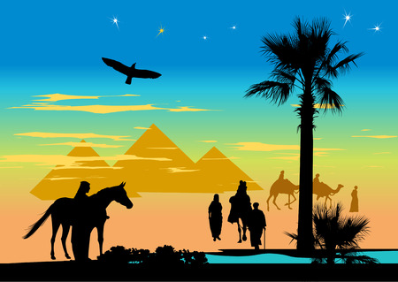 birds desert: Arabian people walking whit horse and camels in the desert on the pyramids background