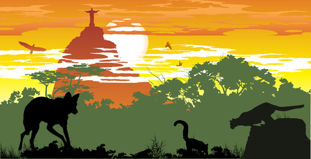 Wild animals of Brazilian woods on the background of Jesuss statue in Rio Vector