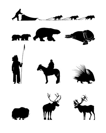 Winter Silhouettes of animals, sled dogs and the Indian Illustration